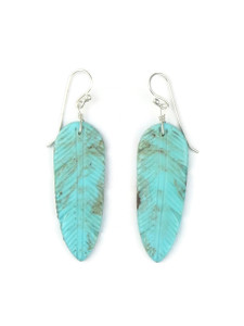 Turquoise Feather Slab Earrings (ER5565)