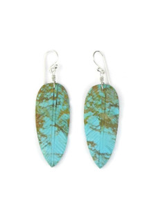 Turquoise Feather Slab Earrings (ER5566)