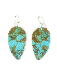 Turquoise Feather Slab Earrings (ER5567)