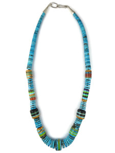 Turquoise Heishi Inlaid Bead Necklace by Ronald Chavez (NK4757)