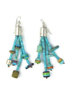 Turquoise Heishi Inlaid Bead Earrings by Ronald Chavez (ER5569)