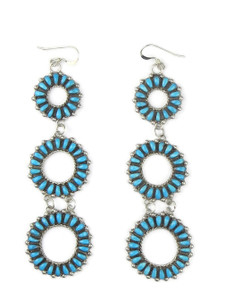 """Turquoise Petit Point Dangle Earrings 4"""" by Milburn Dishta (ER5571)"""