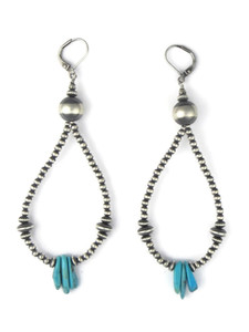 "Turquoise Silver Bead Loop Earrings 4"" (ER5572)"
