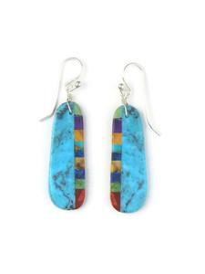 Turquoise & Gemstone Inlay Slab Earrings (ER5573)
