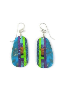 Turquoise & Gemstone Inlay Slab Earrings (ER5574)