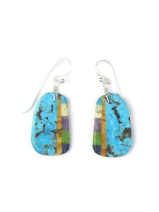 Turquoise & Gemstone Inlay Slab Earrings (ER5575)