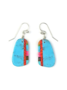 Turquoise & Gemstone Inlay Slab Earrings (ER5576)