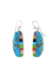Turquoise & Gemstone Inlay Slab Earrings (ER5577)