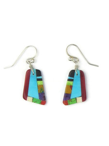 Turquoise & Gemstone Inlay Slab Earrings (ER5578)