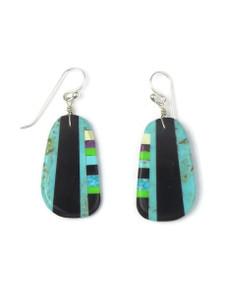 Turquoise & Gemstone Inlay Slab Earrings (ER5579)