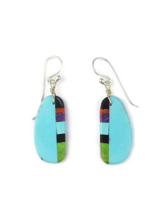 Turquoise & Gemstone Inlay Slab Earrings (ER5580)