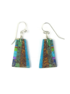 Turquoise & Gemstone Inlay Slab Earrings (ER5581)