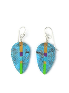 Turquoise & Gemstone Inlay Feather Slab Earrings (ER5582)