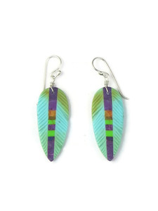 Turquoise & Gemstone Inlay Feather Slab Earrings (ER5586)