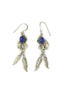 Silver Lapis Feather Earrings (ER5590)