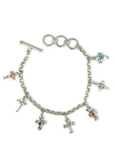 Silver Gemstone Cross Charm Bracelet