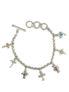 Silver Gemstone Cross Charm Bracelet