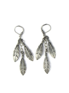 Three Silver Feather Earrings by Lena Platero (ER5594)