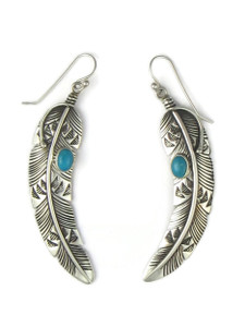 Kingman Turquoise Silver Feather Earrings by Lambert Perry (ER5595)