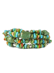 Turquoise, Spiny Oyster Shell, Gaspeite Beaded Wrap Bracelet (BR6303)
