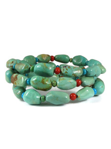 Turquoise & Coral Beaded Wrap Bracelet (BR6304)