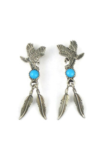 Turquoise Silver Eagle Feather Earrings (ER5596)
