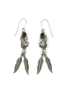 Onyx Silver Eagle Feather Earrings (ER5597)