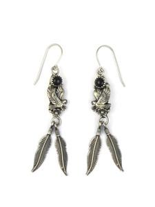 Onyx Silver Eagle Feather Earrings (ER5597)
