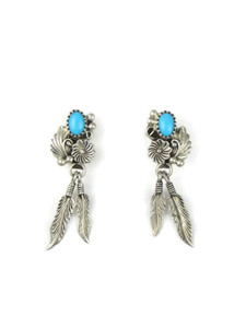 Sleeping Beauty Turquoise Feather Earrings (ER5598)