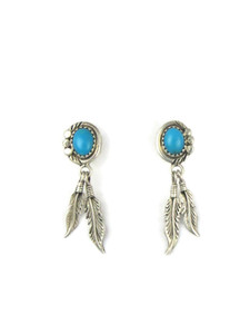 Turquoise Silver Feather Earrings (ER5600)