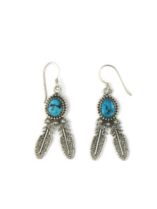 Turquoise Silver Feather Earrings (ER5601)