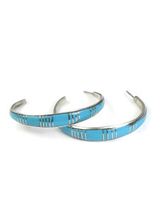 Turquoise Inlay Hoop Earrings by Kenric Peina (ER5606)
