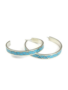 Turquoise Inlay Hoop Earrings by Tina Gasper (ER5607)