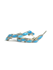 Turquoise Inlay Hoop Earrings - Zuni (ER5608)