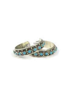 Turquoise Hoop Earrings by Zuni, Joanne Cheama (ER5609)