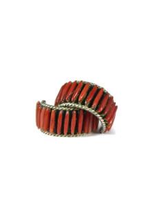 Coral Needle Point Hoop Earrings (ER5612)