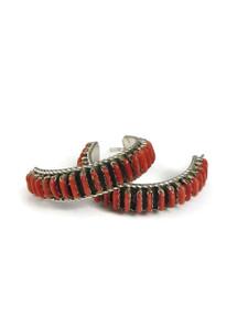 Coral Needle Point Hoop Earrings (ER5613)