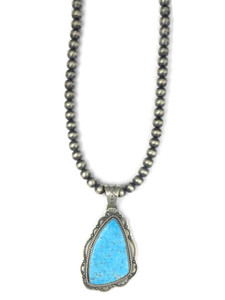 Kingman Turquoise Pendant Necklace by Joe Piaso Jr. (NK4751)