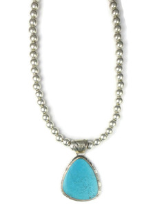 Kingman Turquoise Pendant Necklace by Phillip Sanchez (NK4758)