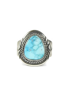 White Water Turquoise Ring Size 10 1/2 by John Nelson (RG5092)