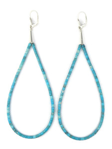 "Long Turquoise Heishi Loop Earrings 5 1/2"" (ER5617)"