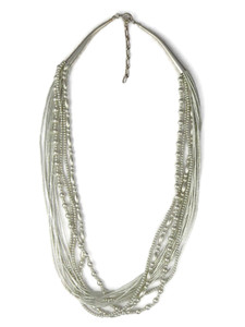 Liquid Silver Beaded Necklace - Adjustable Length (LSNK002-S)