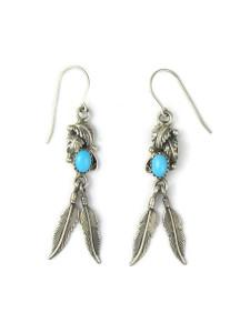 Sleeping Beauty Turquoise Silver Feather Earrings (ER5622)