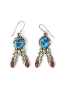Turquoise & Coral Silver Feather Earrings (ER5623)