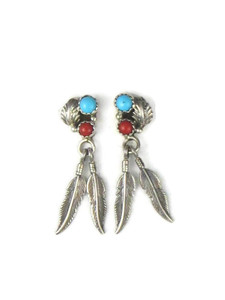 Turquoise & Coral Silver Feather Earrings (ER5635)