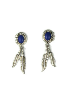 Lapis Silver Feather Earrings (ER5637)