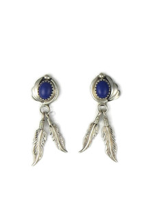 Lapis Silver Feather Earrings (ER5638)
