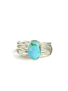 Sonoran Turquoise Silver Branch Wire Ring Size 9 (RG5097)
