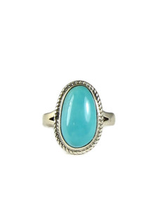 Pilot Mountain Turquoise Ring Size 4 by Lyle Piaso (RG5108)