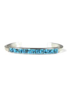 Kingman Turquoise Scultped Inlay Bracelet by Ervin Hoskie (BR6336)